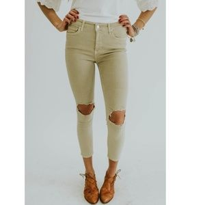 Free People || Busted Knee Skinny High Waist Jeans